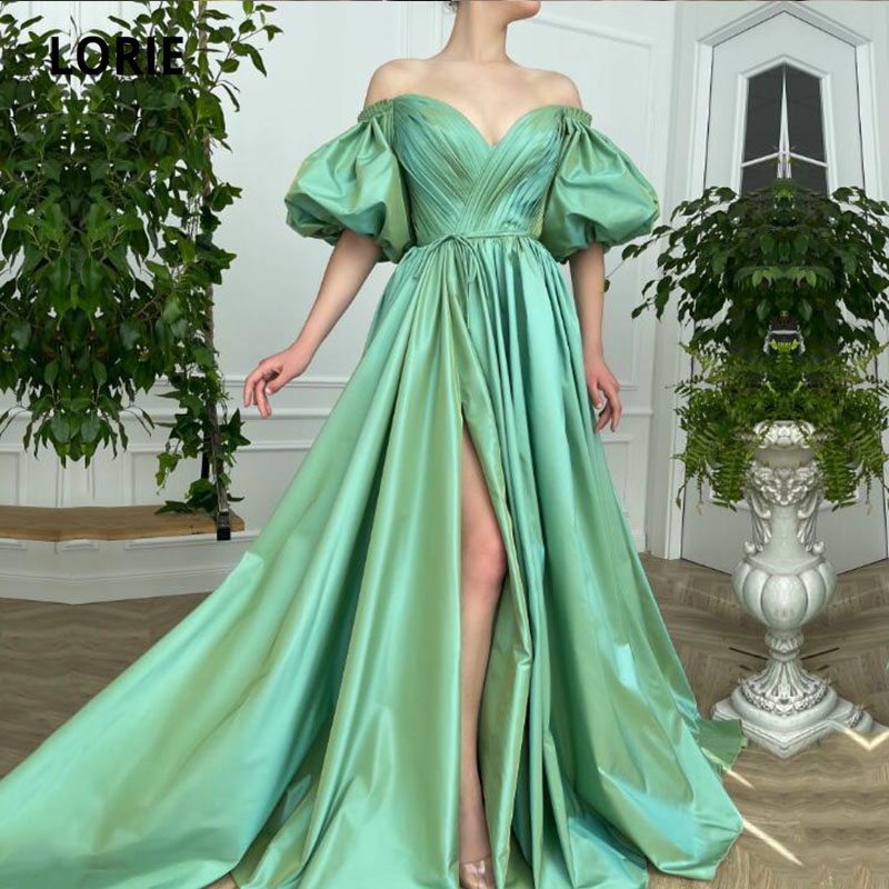 LORIE Long Green Prom Dresses 2021 Off the Shoulder Short Puff Sleeves A-Line Pleats Arabic Wedding Party Gown Graduation Dress