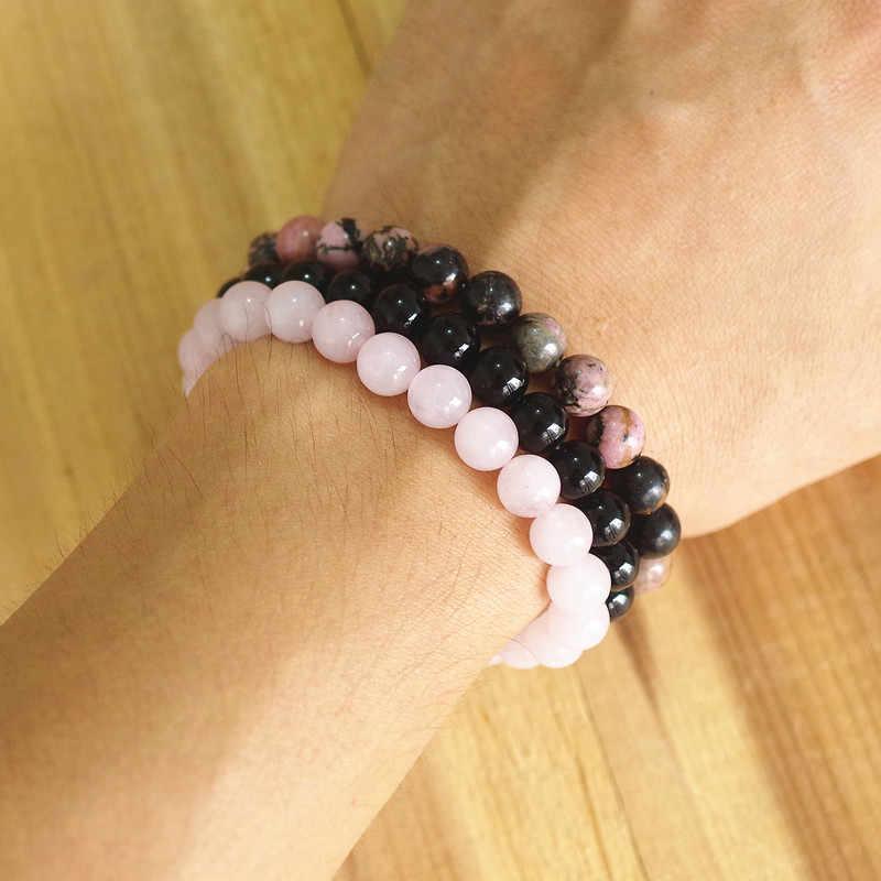 หินธรรมชาติ 8 มม.สร้อยข้อมือผู้ชายผู้หญิง Rhodonite Rose Quartzs สีดำ Onyx ลูกปัด Stackable Mala สร้อยข้อมือ Charm