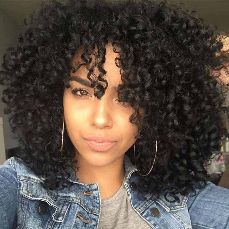 Stamped Glorious 14inches Afro Kinky Curly Wig With Bangs  Synthetic Long Wigs For Black Women Nature Heat Resistant Black Wig