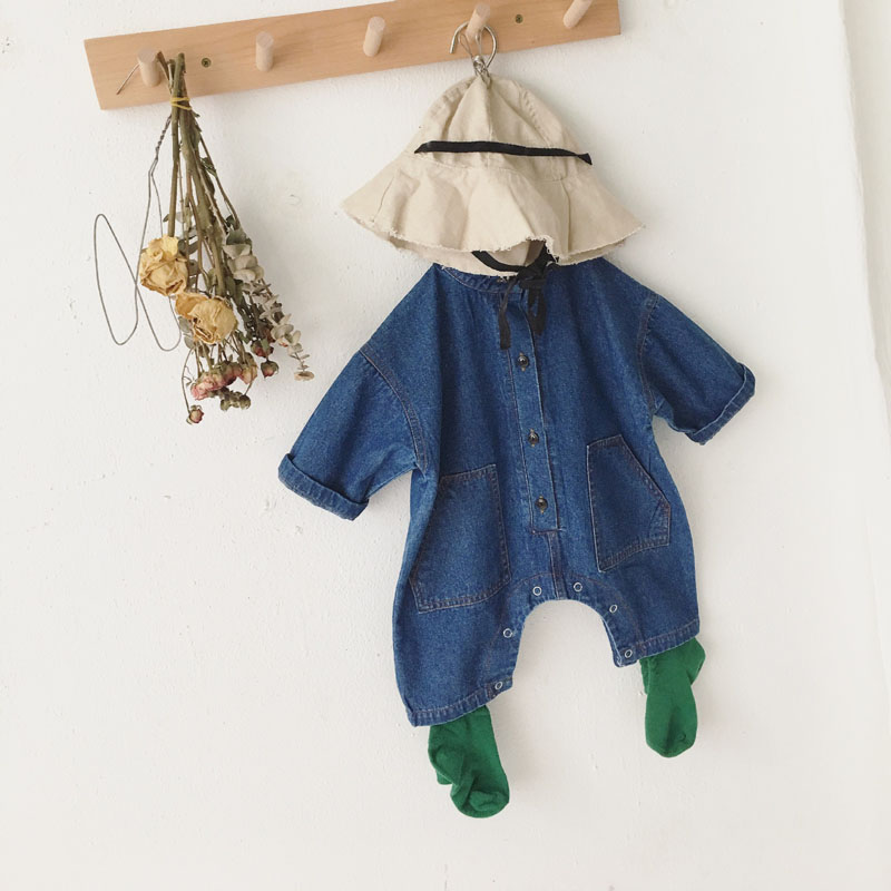 MILANCEL baby   rompers   denim infant girls jumpsuits cotton toddler boys play suits fashion baby clothes