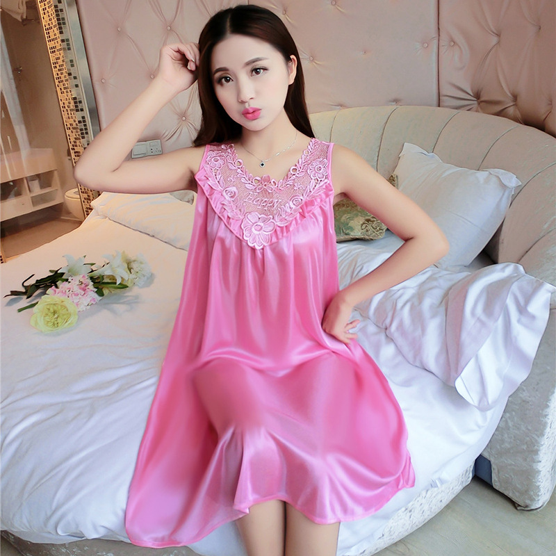 Viscose Nightgown Women's Summer Plus-sized Pajamas Women's Summer Silk Long Skirts Loose-Fit Large GIRL'S Home Wear Thin