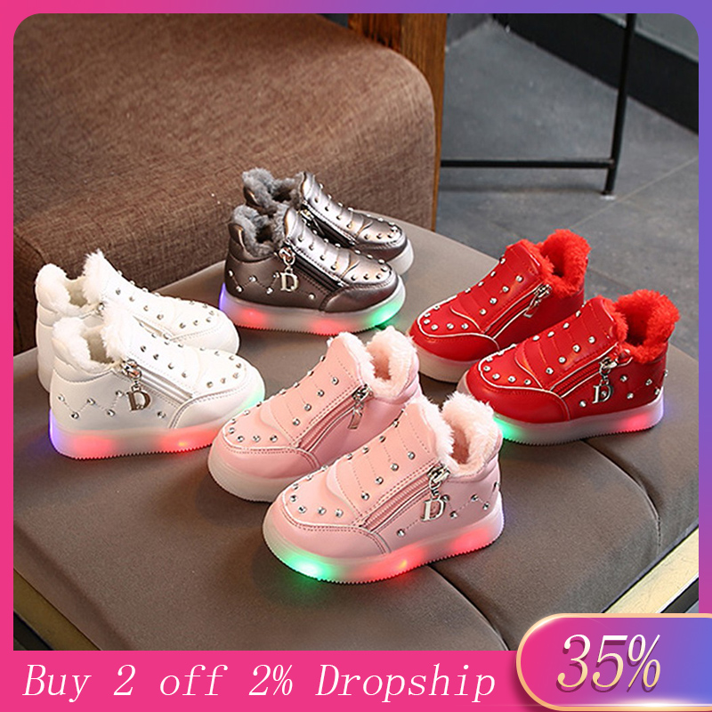 MUQGEW Fashion Light Luminous Boot Children Baby Girls Shoes Plus Velvet Winter Warm Boot Crystal Zip Led Short Boots Shoes Wy6