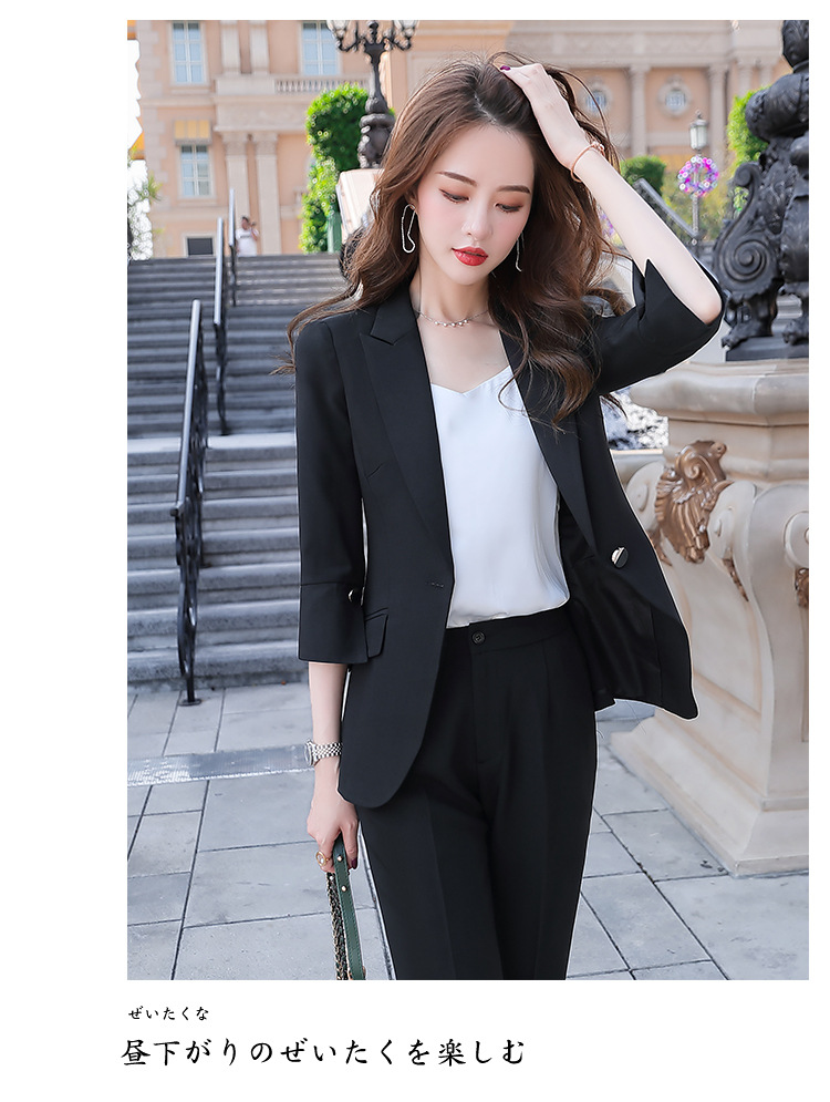 H56222db9c3cc455eb406b690bde20fc8Y - Black Apricot Female Elegant Women's Suit Set Blazer and Trouser Pant Business Uniform Clothing Women Lady Tops and Blouses