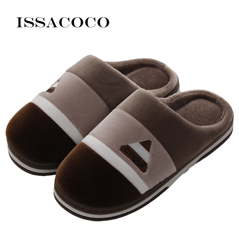 ISSACOCO New Winter Men's Slippers Warm Home Slippers Warm Furry Flat Slippers Indoor Slippers For Men Bedroom Couples Slippers