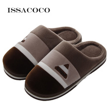 ISSACOCO New Winter Mens Slippers Warm Home Furry Flat Indoor For Men Bedroom Couples