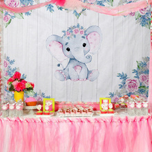 Elephant Baby Shower Backdrops Birthday Party Decorations Kids Favor Gender Reveal Party Photography Background 210*150cm fish net ocean pirate pirate beach theme party wedding kids birthday baby shower gender reveal decoration background photo both