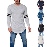Nice Pop Men Slim Long Sleeve T Shirt Striped Sleeve Long T Shirt Solid Color O Neck Spring Summer Tee Tops Mens Fashion Top