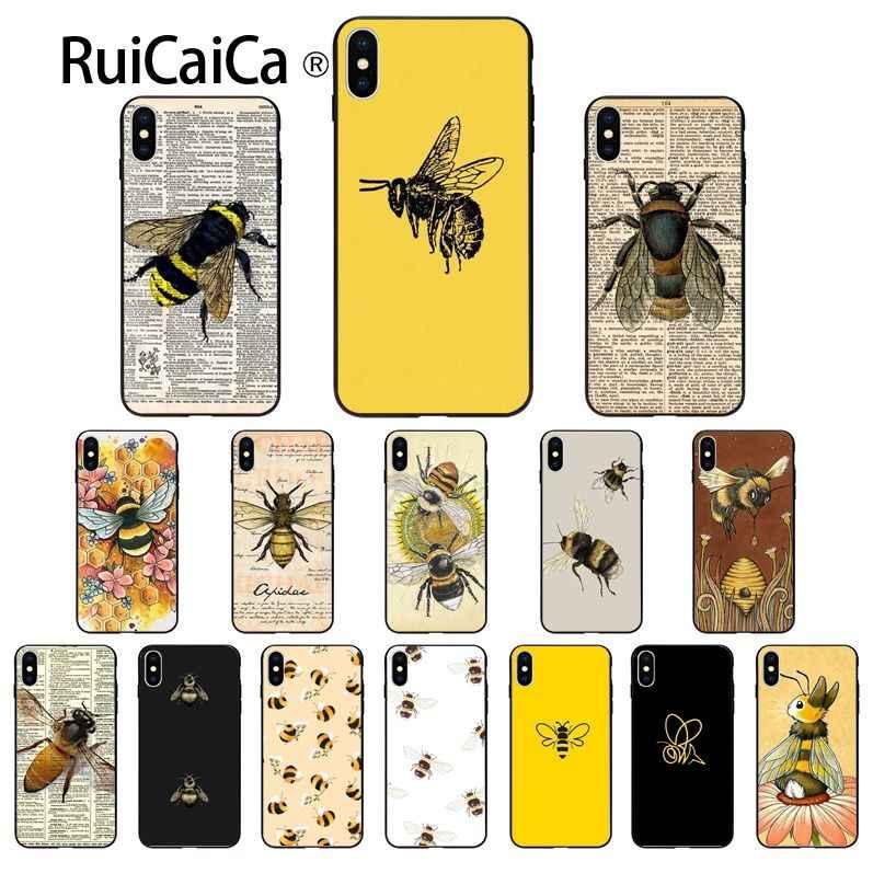 Ruicaica Nette insekt biene DIY Druck Zeichnung Telefon Fall abdeckung Shell für iPhone 6S 6plus 7 7plus 8 8Plus X Xs MAX 5 5S XR