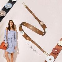 Fashion Flower Adjustable Bag Strap Brand Crossbody Wide Shoulder Strap for Bag Accessories Leather for Women Girl Handbag