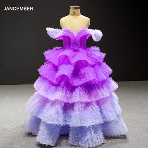 Image 1 - J66905 Jancemberดอกไม้สาวชุด 2020 สีม่วงVคอหมวกชั้นหญิงชุดราตรี Платье Для Девочек Communie Jurk