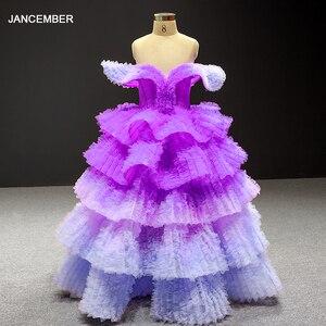 Image 1 - J66905 Jancember Blume Mädchen Kleider 2020 Lila V Neck Cap Sleeve Tiered Mädchen Abendkleider платье для девочек communie jurk