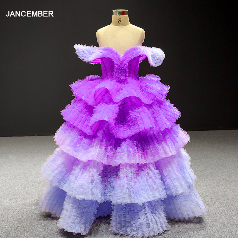 J66905 Jancember Flower Girl Dresses Purple V Neck Cap Sleeve Lace Up Tiered Kids Evening Dresses нарядное платье для девочки