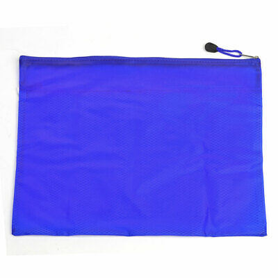 Two Compartments Zippered PVC Paper File Bags Folder Blue