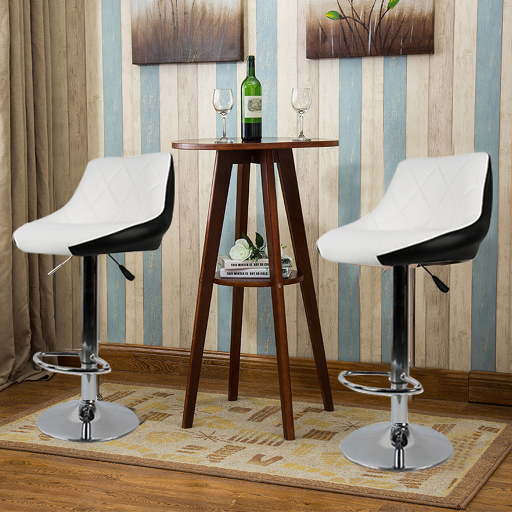 2pcs/set European Stylish Swivel Bar Chairs Lift Adjustable Height Bar Stools Synthetic Leather Rotated Modern Chairs HWC