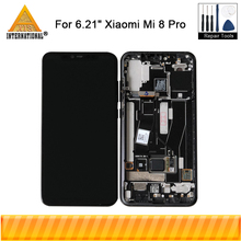 "6.21""Original Amoled Axisinternational LCD Frame For Xiaomi Mi8 Pro In Screen Fingerprint LCD Screen Display+Touch Digitizer"