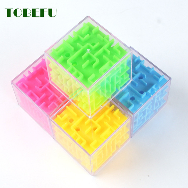 TOBEFU 3D Maze Magic Cube Transparent Six-sided Puzzle Speed Cube Rolling Ball Game Cubos Maze Toys for Children Educational 3