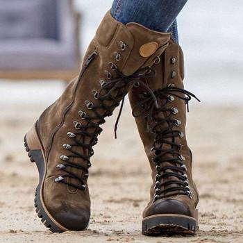 Damskie zamszowe buty z przodu zasznurowane buty rycerskie gruby obcas środkowe seksowne wysokie buty wysokie do kolan buty wysokie obcasy Forfemale 2021 tanie i dobre opinie Eillysevens Klinowe podstawowe NYLON CN (pochodzenie) Zima Futro Połowy łydki Etniczne ZSZYWANE Stałe Adult SYNTETYCZNE