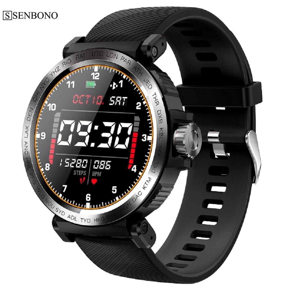Reloj inteligente con pantalla táctil SENBONO S18 IP68 resistente al agua para hombre, reloj deportivo, Monitor de ritmo cardíaco, reloj inteligente