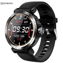 Senbono s18 relógio digital smartwatch, tela de toque completa, ip68 a prova d água, medidor de frequência cardíaca, monitoramento de atividades esportivas