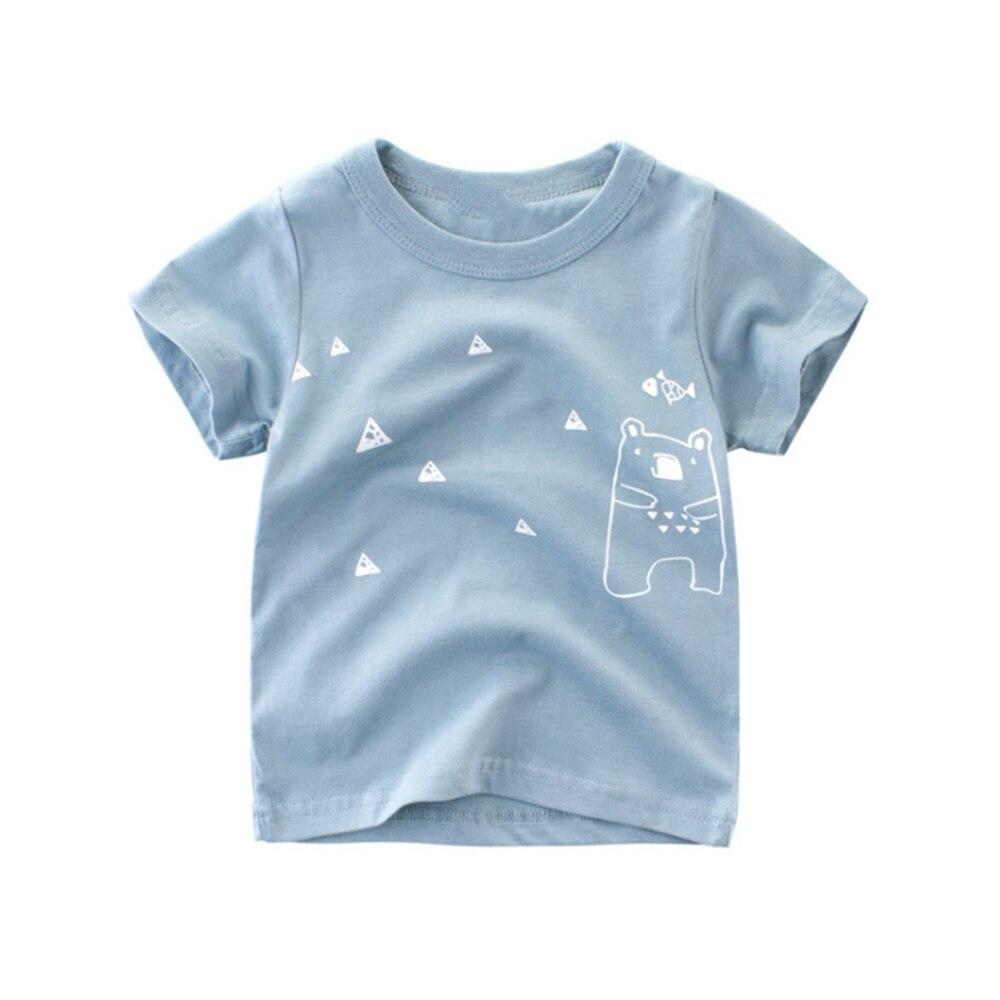 Loozykit/Летняя детская футболка для мальчиков футболки с короткими рукавами и принтом короны для маленьких девочек хлопковая детская футболка футболки с круглым вырезом, одежда для мальчиков - Цвет: Style 14