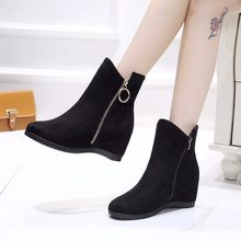 2019 Winter Shoes Women Snow Boots Fashion Women Ankle Boots Casual Woman Wedge Heels Boots Height Increasing 6.5cm A1769(China)