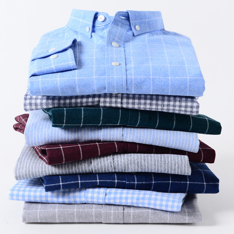 Casual Pure Cotton Plaid Mens Dress Shirt Long Sleeve Soft Thick Fabric Regular Fit Stylish High Quality Fashion Blouse
