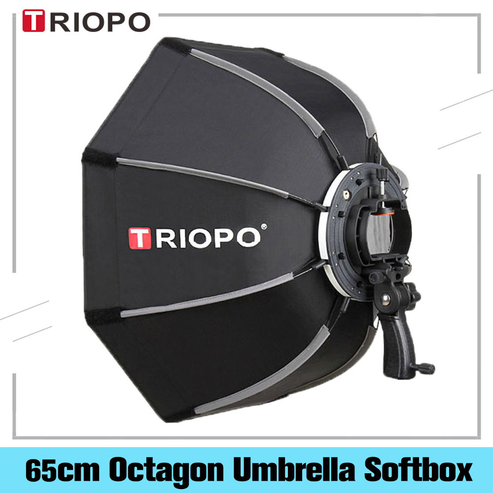 TRIOPO 65cm Umbrella Softbox Portable Outdoor Octagon For Godox Yongnuo Flash Speedlite Soft Box Photography Studio Accessories