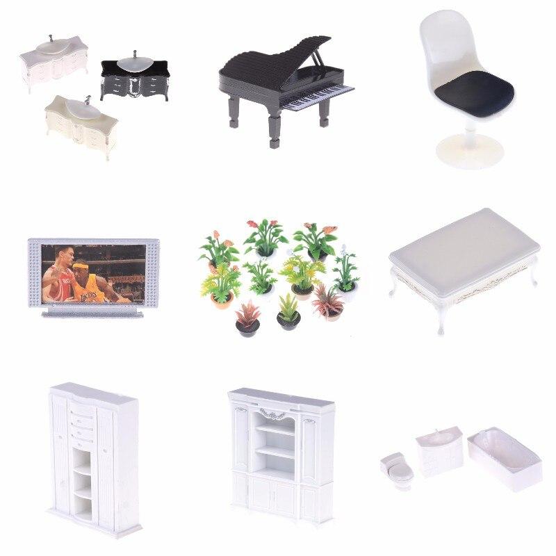 1:25 DIY Dollhouse Micro Landscape Garden Potted Plant Bathtub Wash Basin Sofa Set Tea Table Doll House Miniatures Furniture Toy
