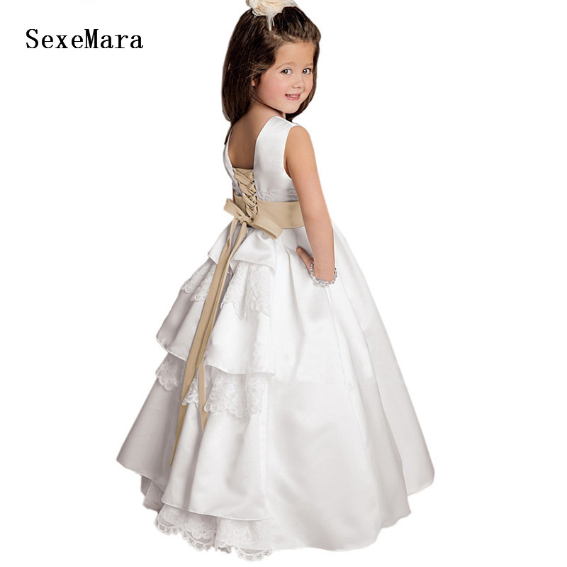 New   Flower     Girl     Dresses   with Detachable Ribbon Lace Appliques Princess Elegant Wedding Pageant Gown   Girls   Clothes any size
