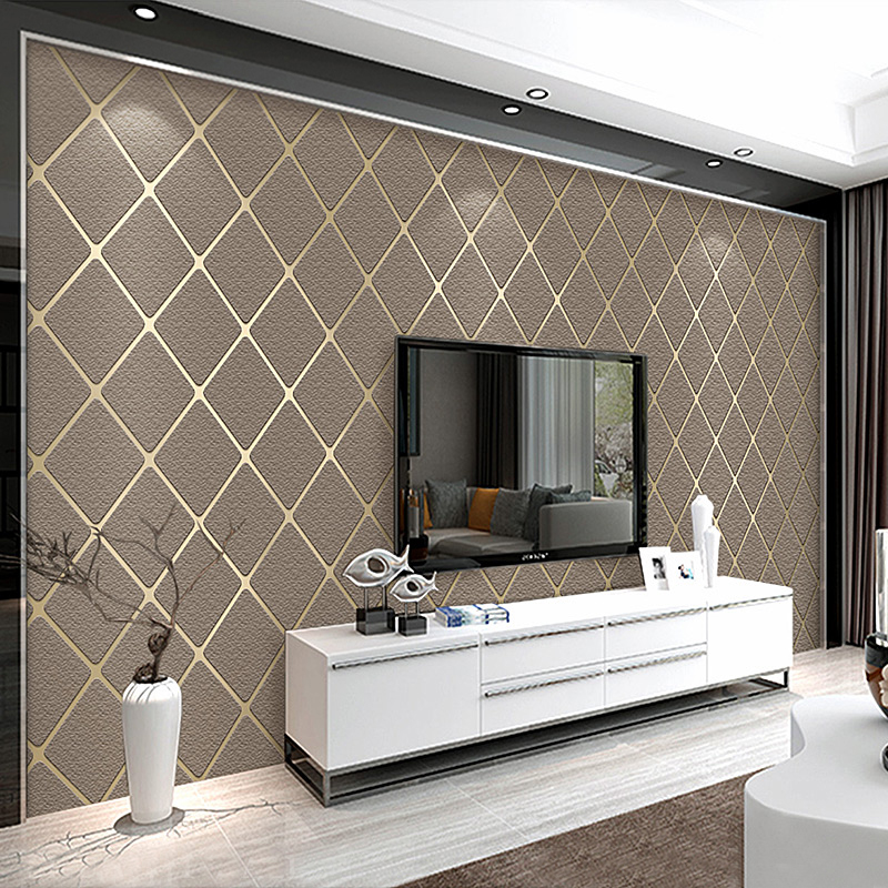Modern Living Room Sofa Bedroom Wallpaper For Walls 3D Thicken Non-woven Suede Geometric Lattice TV Background Wall Paper Rolls