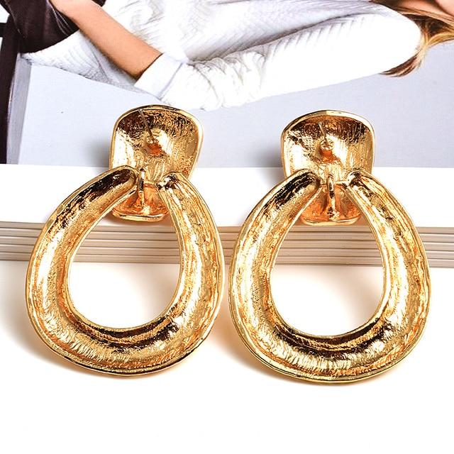 Gold Metal Drop Earrings 2