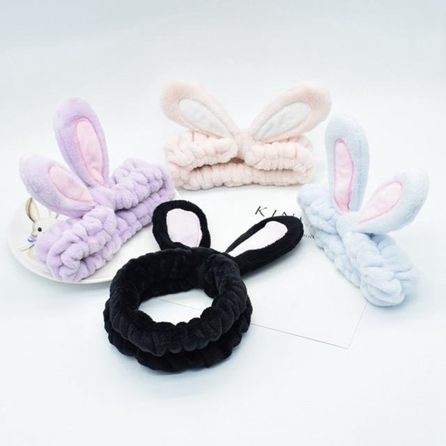 мягкая эластичная лента для волос с кроличьими ушками из хлопка фотография