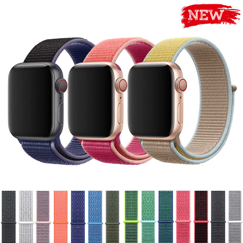 Deporte bucle de correa para apple watch banda 4 3 44mm 42mm 38mm 40mm iwatch correa/5/ pulsera 4/3/2/1 correa de nylon de doble capa