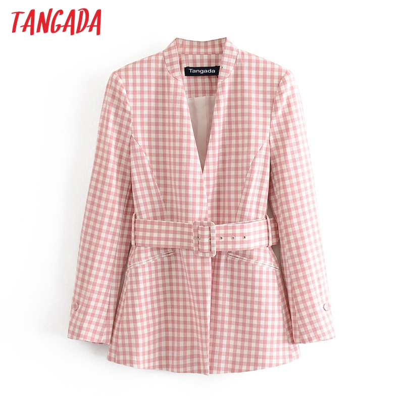 Tangada Women Vintage Pink Print Blazer Female With Belt Long Sleeve Elegant Jacket Ladies Work Wear Blazer Formal Suits 3H607