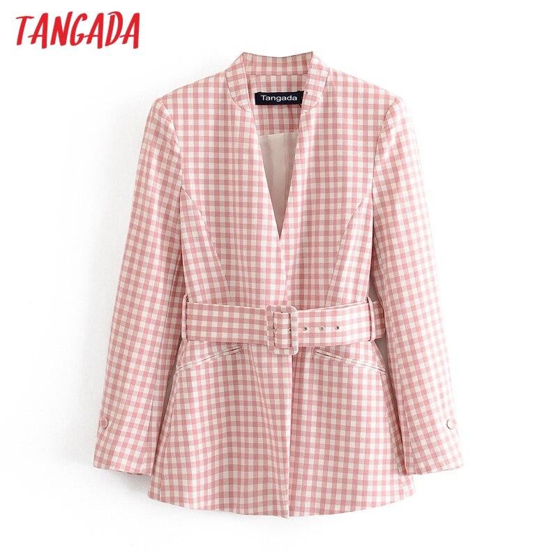 Tangada Women Vintage Pink Print Blazer Female With Belt Long Sleeve Elegant Jacket Ladies Work Wear Blazer Formal Suits 3H607