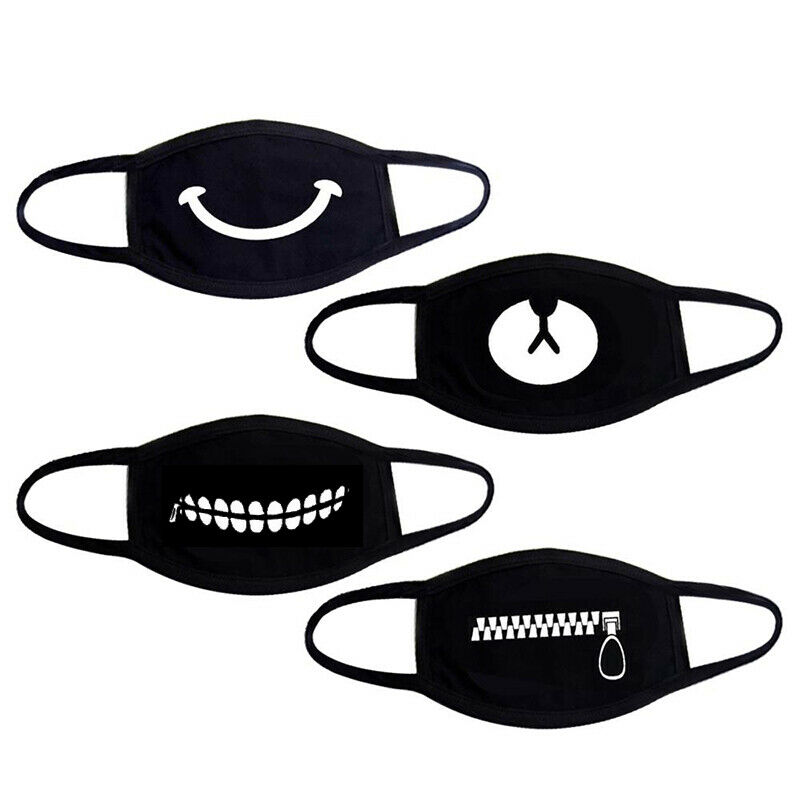 Unisex Black Cotton Dustproof Mouth Face Mask Anime Cartoon Bear Women Men Muffle Party Masks Reuseable Cycling Dust Pattern