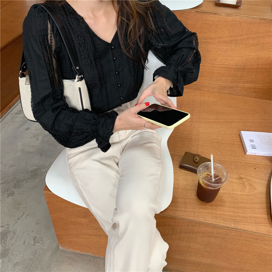 H56238410655a4092ac027c895783f1cel - Spring / Autumn V-Neck Long Sleeves Lace Buttons Blouse