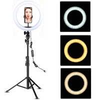 Anillo de luz LED de 10 pulgadas con soporte de trípode Selfie Ring luz vídeo photography lámpara para Youtube maquillaje vídeo iluminación en vivo disparo