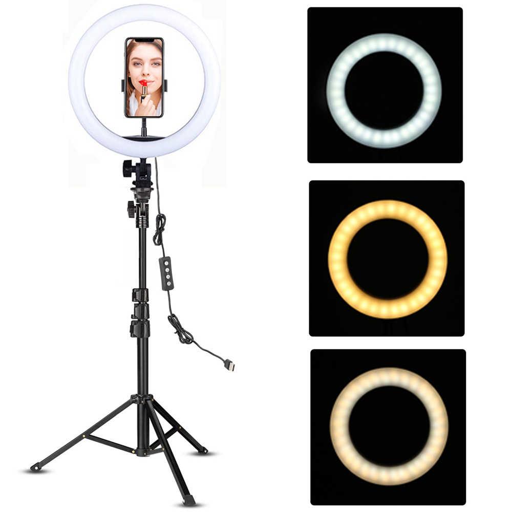 """10/"""" LED Luz De Anillo De Estudio Foto Lámpara Luz para YouTube Tiktok video en vivo Trípode"""