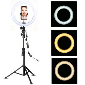 Image 1 - LED Ring Light 10 inch with Tripod Stand Selfie Ringlight Video Photpgraphy Lamp for Youtube Makeup Video Live Lighting Shooting