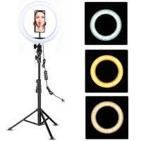 LED Ring Light 10-inch with Tripod Stand Selfie Ringlight Video Photpgraphy Lamp for Youtube Makeup Video Live Lighting Shooting