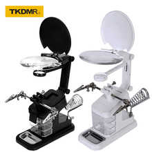 Soldering Iron Welding Magnifying Glass 2 LED 3X 4.5X 25X Helping Hand Rework Magnifier with 3 Tools Boxes Desk Station Repair