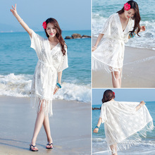 Bikini Cover-up Jacket Hot Spring Bathing Suit Outdoor Lace Porous Seaside Beach Holiday Dress Sunscreen Cardigan Womens