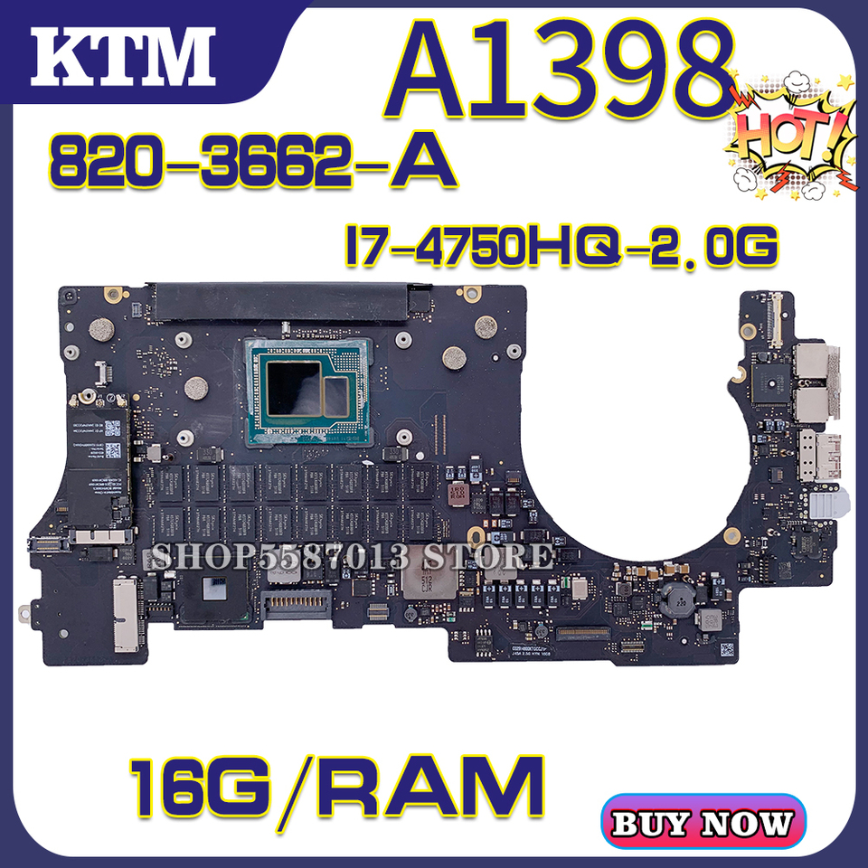 Apple For Macbook Pro A1398 820 3662 A Laptop Motherboard Mainboard 100 Test Ok I7 4750hq Cpu 16gb Ram Cpu 2 0g Motherboards Aliexpress