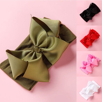 Child Big Bow Hair Ribbon Solid Color Baby Headband Kids Elastic Headwrap Toddler Infant Hairband Turban Basis Hair Accessory image
