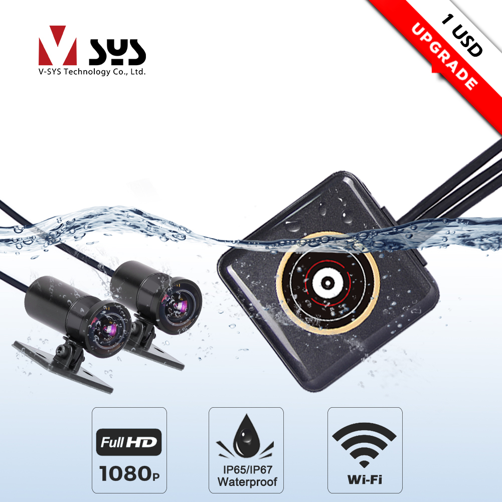 SYS Motorcycle DVR Recorder Dash-Cam Wifi Black P6FL Waterproof Full-Body Dual 1080P