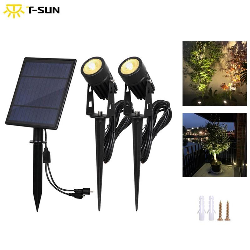 T-SUNRISE Waterproof IP65 Outdoor Garden LED Solar Light Super Brightness Garden Lawn Lamp Landscape Spot Lights