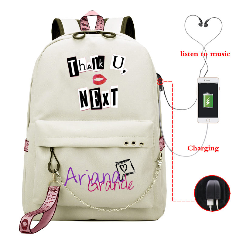 Ariana Grande Thank U Next Mochila Shoulder Backpack Girls Usb Cable Women School Bag Travel Teenager Backpack Daily Baypack