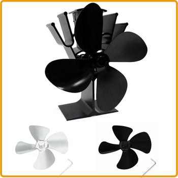 Hot Sale !!! Large Airflow Aluminum Alloy 4-Blades Fan Leaf For Stove Fan Log Burning Fireplace  Accessories