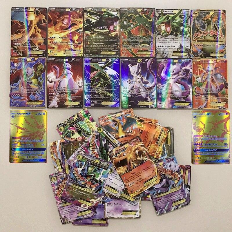 300 pièces/ensemble GX EX MEGA brillant Pokemon cartes bataille Carte cartes à collectionner jeu soleil lune Solgaleo Lunala Mewtwo Carte enfants jouets